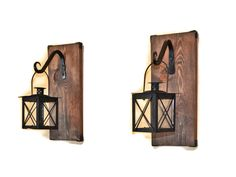 Lantern Sconce, Hanging Candle Lantern Pair, Wood Lantern, Wrought Iron, Restoration Decor, Shelf Hardware, Floating Wall Decor, Tea Light by EllaMurphyDesigns on Etsy https://www.etsy.com/listing/257556848/lantern-sconce-hanging-candle-lantern