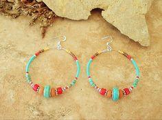 Turquoise Earrings Southwest Hoop Earrings Rustic by BohoStyleMe