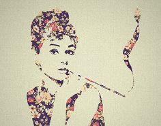pretty art beautiful audrey hepburn floral love it Arte Audrey Hepburn, Graffiti, Retro, Tomorrow Is Another Day, I Believe In Pink, Mystique, Mode Vintage, Vintage Style, Les Oeuvres