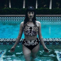 """Maillot de bain Gothique Killstar """"Bad Bones Bikini"""""""