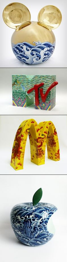 Artist Li Lihong expertly juxtaposes two familiar but disparate sets of imagery. He renders familiar corporate logos as three dimensional sculptures. - a grouped images picture Corporate Logos, Chinese Ceramics, Traditional Chinese, Three Dimensional, Lovers Art, Art Inspo, Sculptures, Graphics, Thoughts