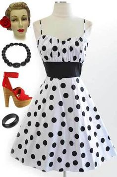 50s Style White w Big Black Polka Dots Rouched Bust Bombshell Pinup Sun Dress | eBay
