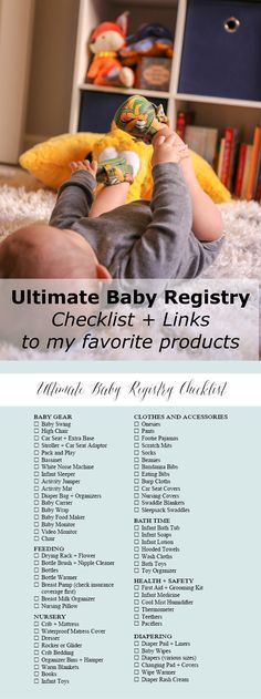 Ultimate guide to your baby registry. Baby Registry checklist. Baby Registry with links to my favorite items! Printable.
