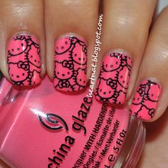 Hello Kitty Nails for  Me and Jayne!Repin this if u don't already have it! Lol