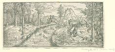Virgilius Solis (I)   Landschap met een jachtpartij, Virgilius Solis (I), Monogrammist HWG, 1525 - 1550  