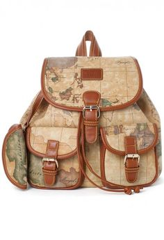 Map Print Backpack - Bags - Goods - Retro, Indie and Unique Fashion Givenchy, Hermes, Genius Ideas, Dior, Unique Fashion, Womens Fashion, Chanel, Cute Bags, Leather Backpack