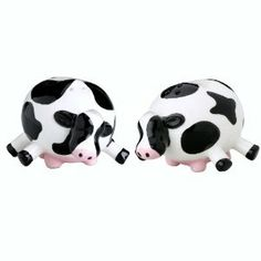 Boston Warehouse Udderly Cows Salt and Pepper Shaker Set, Multi Cow Kitchen, Salt And Pepper Set, Hand Painted Ceramics, Salt Pepper Shakers, Paint Designs, Earthenware, Whimsical, Stuffed Peppers, Cows