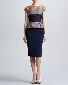 Cap-Sleeve Colorblock Peplum Dress by Lela Rose at Bergdorf Goodman.