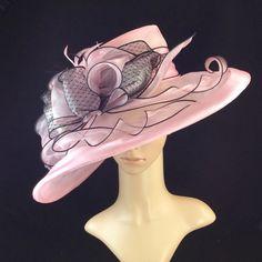 Pink Kentucky Derby Hat,Derby Hat,Dress Hat , Pink Wedding Hat Wide Brim Hat Tea Party Hat Ascot