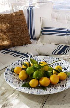 Mediterranean style in a simple citrus, summer centerpiece from Ralph Lauren Home