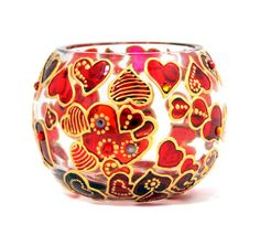 Hand Painted Glass Bowl, Hearts, $55.00