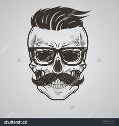 Bearded skull illustration