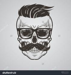 Bearded Skull Illustration - 439342696 : Shutterstock