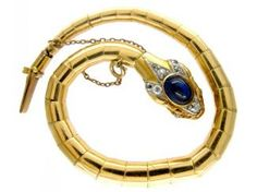 A gold, sapphire and diamond bracelet, 1901-14, in the form of a serpent, a symbol of eternity. (The Antique Jewellery Company)