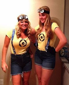 To make your own trendy Minions costume, simply wear denim overalls — or shorts with suspenders— with gogg...