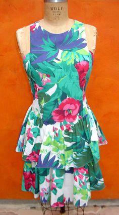 SALE Vintage 80s SUMMER Beach Tropical Floral Layered Mini Skirt DRESS - Racer Back - Mint. $25.00, via Etsy.