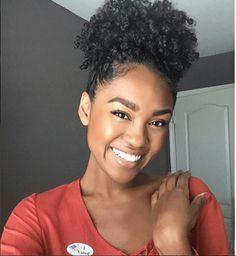 Defined Curls in a Pretty Puff Source: blackgirlsnatural_  #naturalhairmag