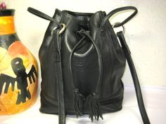Vintage BALENCIAGA Black Leather Drawstring Bucket by G247 on Etsy, $110.00