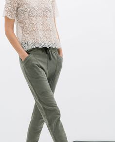 Image 3 of COTTON TROUSERS from Zara