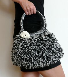 Crocheted Black and White shaggy shoulder bag