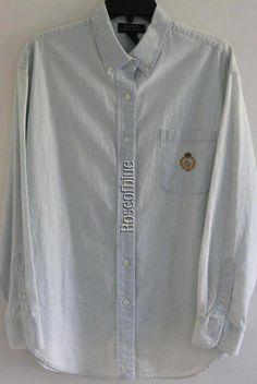 RALPH LAUREN SHIRT CLASSIC LOGO M BLUE CHAMBRAY COTTON BLOUSE Jeans #RALPHLAUREN #ButtonDownShirt