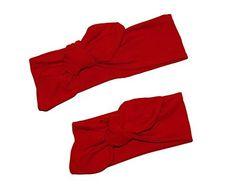 Diadema roja en talla de recién nacido, bebé, niña y adulto, hecha a mano con tela de algodón, regalo ideal de San Valentín, perfecta para las niñas que quieren vestir como mamá.
