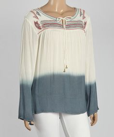 This White & Gray Ombré Embroidered Top - Plus by Highness NYC is perfect! #zulilyfinds