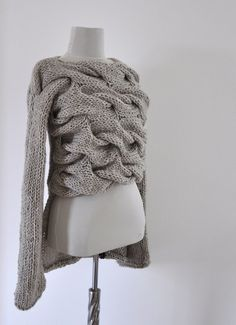 Sweater Cardigan Jacket Tunic Chunky Sweater Hand Knit Beige Sand Earth Tones. $125.00, via Etsy.