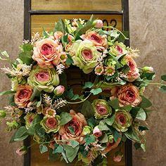 t rkranz wandkranz kranz roten rosen seidenblumen 50 cm 41335 fr hlings deko fr hling. Black Bedroom Furniture Sets. Home Design Ideas