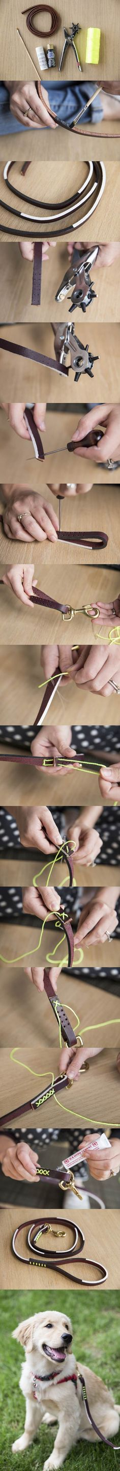 DIY Graphic Leather Dog Leash 2 - Tap the pin for the most adorable pawtastic fur baby apparel! You'll love the dog clothes and cat clothes! <3