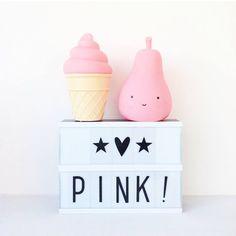 Luces quitamiedos infantiles en forma de helado y dulce pera con lightbox pequeña - Minimoi