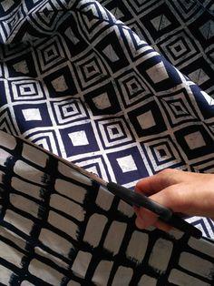 blueprint, indigo pattern Originální autorská modrotisková látka. Ruční tisk. Autorka Dana Lindenthalová.