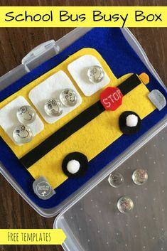 School bus busy box with free templates! Kids Travel Activities, Educational Activities, Preschool Activities, Maths Resources, Motor Activities, Back To School Crafts, Back To School Activities, Early Learning, Kids Learning