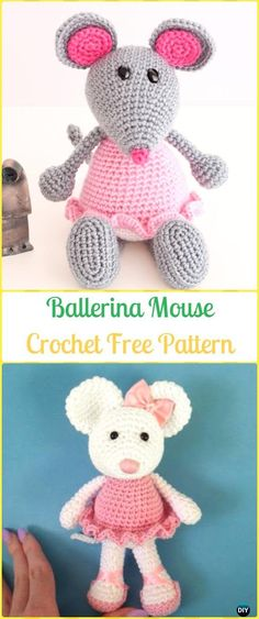 Crochet Ballerina Mouse Amigurumi Free Pattern - Amigurumi Crochet Mouse Toy Softies Free Patterns