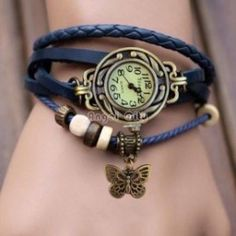 b16be223acb FAP Blue Colour Vintage Watch Butterfly Design for womens Flower Pendant
