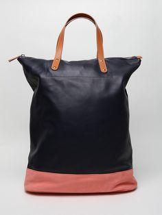 Paul Smith Men's Lambs Leather Tote Bag in navy / peach at oki-ni