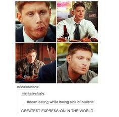 Dean eating while sick of bullshit