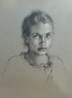 Drawing by Katie O'Hagan, contemporary portrait artist, raised in Scotland, now living in NY