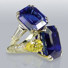 Sapphire and diamond rings in platinum