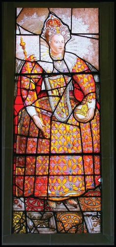 Queen Elizabeth I, stain glass window depicting her anniversary of the defeat of the Spanish Armada and visit to Sudeley Castle located near Winchcombe, Gloucestershire, England. Photo: pefkosmad via Flickr