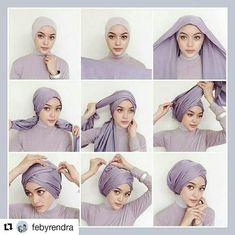 kumpulan gambar tutorial hijab segi empat sederhana terbaru simpel - my ely Turban Hijab, Mode Turban, Tutorial Hijab Pashmina, Turban Tutorial, Hijab Style Tutorial, Turkish Hijab Tutorial, Hair Wrap Scarf, Hair Scarf Styles, Hijab Styles