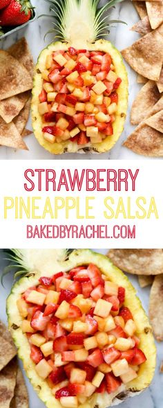 pineapple salsa with cinnamon tortilla chips. Recipe from A family friendly snack or appetizer!Strawberry pineapple salsa with cinnamon tortilla chips. Recipe from A family friendly snack or appetizer! Strawberry Recipes, Fruit Recipes, Appetizer Recipes, Mexican Food Recipes, Appetizers, Cooking Recipes, Strawberry Salsa, Tortilla Recipes, Healthy Tortilla
