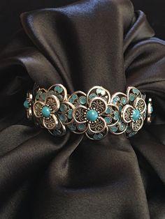 Chunky Metal Flower Bracelet / Cuff Bracelet / by Humbleandkind