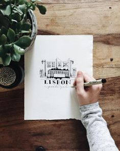 Lisbon, Portugal illustration by Britt Fabello Travel Illustration, Old Town, Old Things, Cards Against Humanity, Lisbon Portugal, Sea, Town Hall, Instagram Posts, Blog