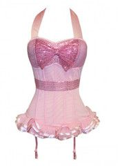 Atomic Pink Sequin Halter Bustier Corset with Bow | Atomic Jane Clothing www.atomicjaneclothing.com