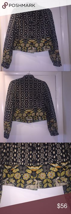 """Anthropologie Elevenses Quilted Yardbird Jacket  2 Rare Anthropologie Elevenses Yardbird cropped quilted jacket  in size 2. Bought new and has been in my closet, only worn a few times. Length 20"""", Bust 18"""" across. From a very clean, smoke free home. 😊🌿 Elevenses Jackets & Coats"""