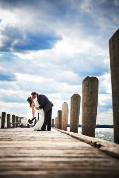 take your wedding pictures on any one of the great docks in Lake Geneva