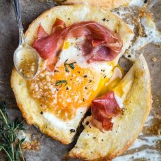 Meet your new favourite breakfast! These sheet-pan baked eggs-in-a-bagel-hole are easy, quick and delicious!