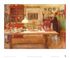 Carl Larsson, Swedish artist, painting of his family in their home