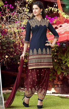 $26.90 Navy Blue Cotton Punjabi Suit 56209